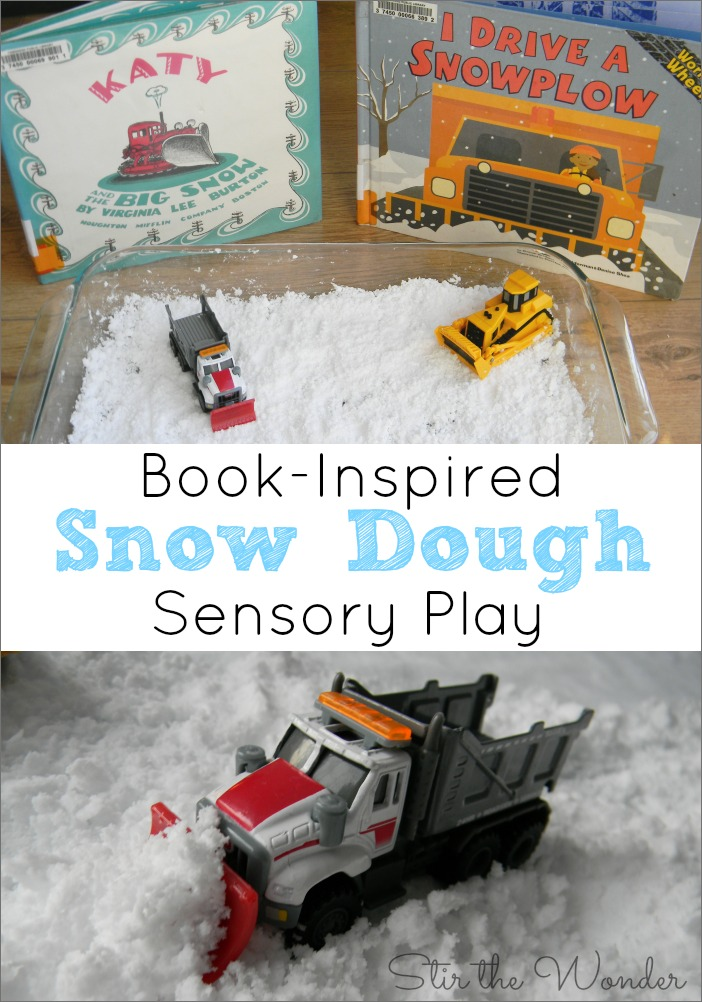 Snow Dough Sensory Play inspired by Katy and the Big Snow & I Drive a Snowplow | 12 Months of Sensory Doughs at Stir the Wonder