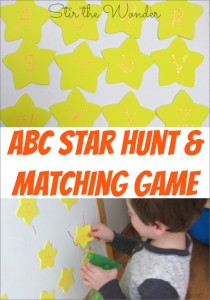 Preschoolers will love hunting around the house or room looking for stars to match! It's a great activity to get kids active while practicing fine motor skills and letter recognition! | Fine Motor Fridays at Stir the Wonder