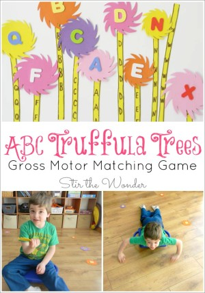 Celebrate Dr. Seuss' birthday and Read Across America Day with this ABC Truffula Trees Gross Motor Matching Game inspired by The Lorax! It's a great way for toddlers and preschoolers to get the wiggles out while practicing letter recognition!