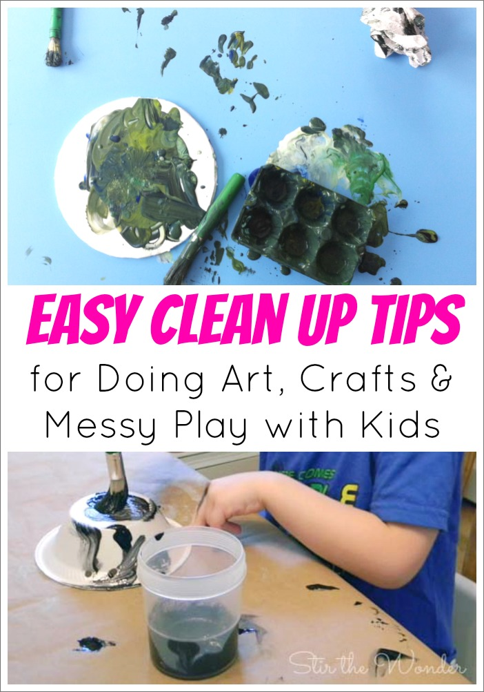 Does doing art, crafts and messy play with your kids make you cringe? Here are some Easy Clean Up Tips! | Stir the Wonder