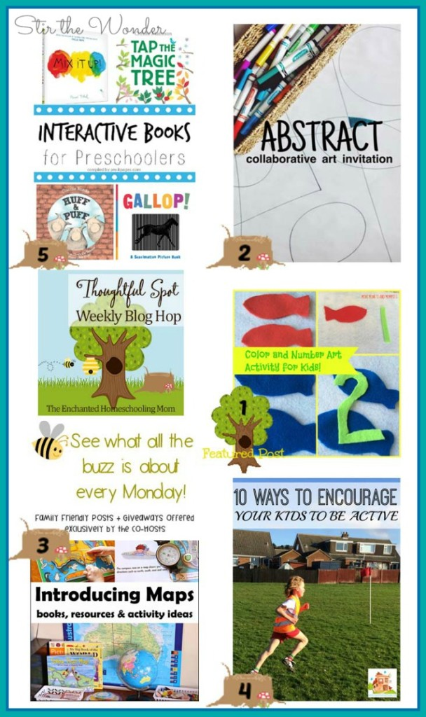 Thoughtful Spot Weekly Blog Hop #76, featuring posts from Mini Monets and Mommies, The Art Curator for Kids, Suzie's Home Education Ideas, The Mad House and Pre-K Pages