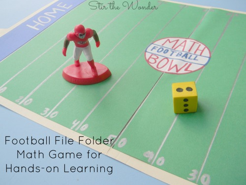 Football File Folder Math Game for Hands-on Learning | Stir the Wonder