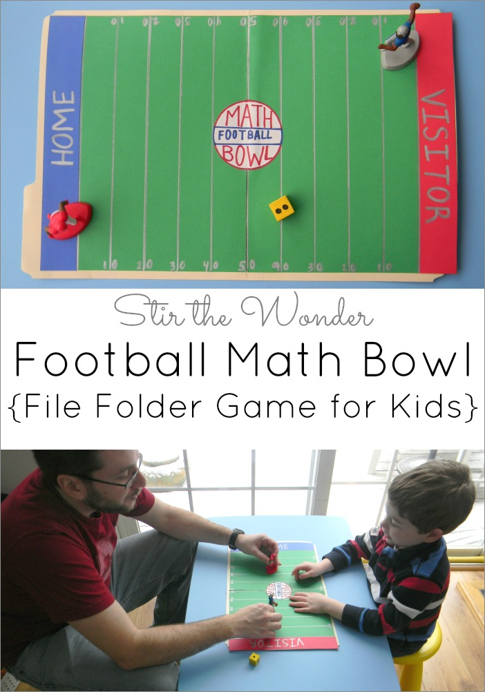 Football Math Bowl, file folder game for kids | Hands-on Activities for Kids at Stir the Wonder