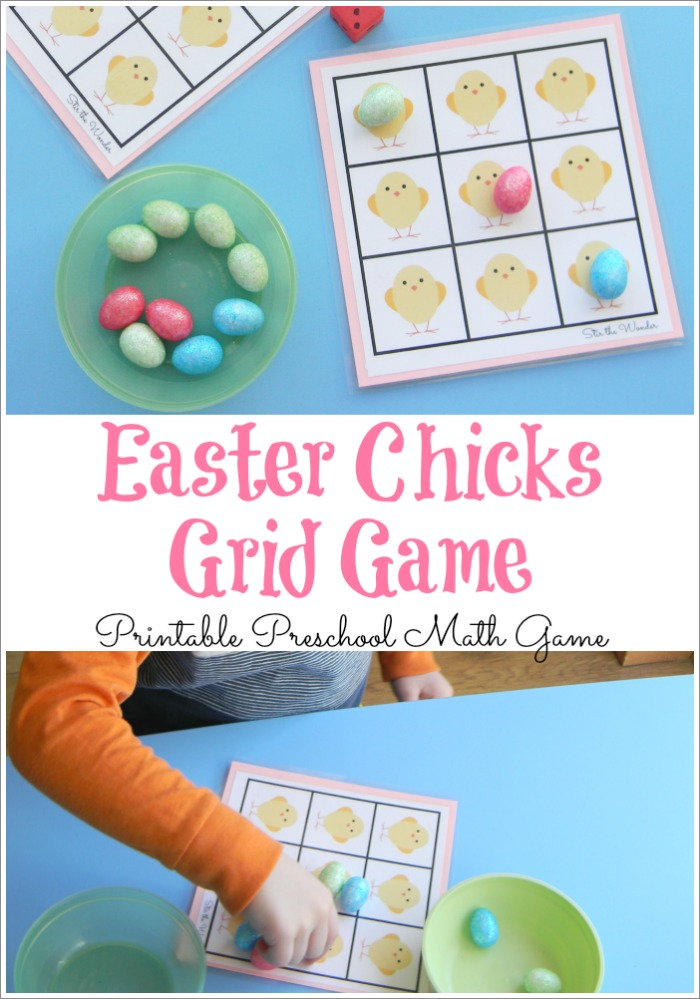 Easter Chick Grid Game, a simple counting game for preschoolers!