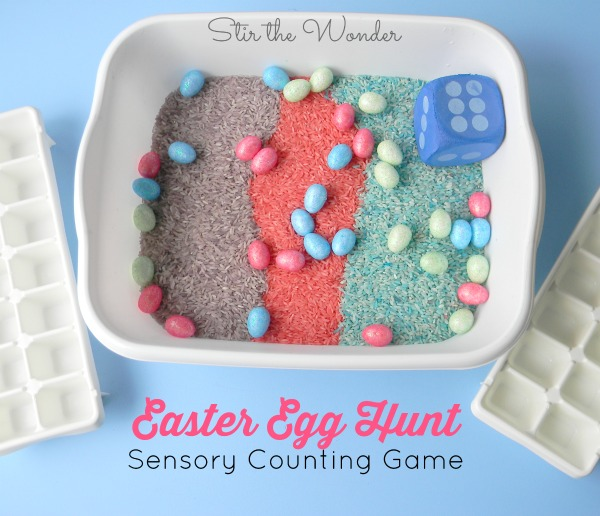 The Easter Egg Hunt Sensory Counting Game is a fun, multi-sensory way for preschoolers to practice early math skills, visual scanning, as well as gain tactile sensory input! | Stir the Wonder