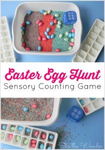 The Easter Egg Hunt Sensory Counting Game is a fun way for preschoolers to practicing counting objects, work on one-to-one correspondence and gain tactile sensory input.