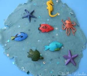 Sparkling Ocean Play Dough | Stir the Wonder