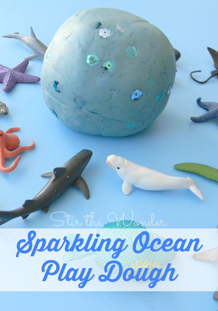 Sparkling Ocean Play Dough is a great sensory way to work on fine motor skills as well as identifying sea life!