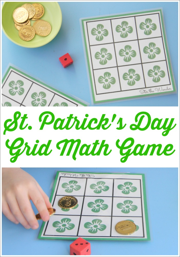 St. Patrick's Day Grid Math Game is a fun way for toddlers and preschoolers to practice counting and one-to-one correspondence!