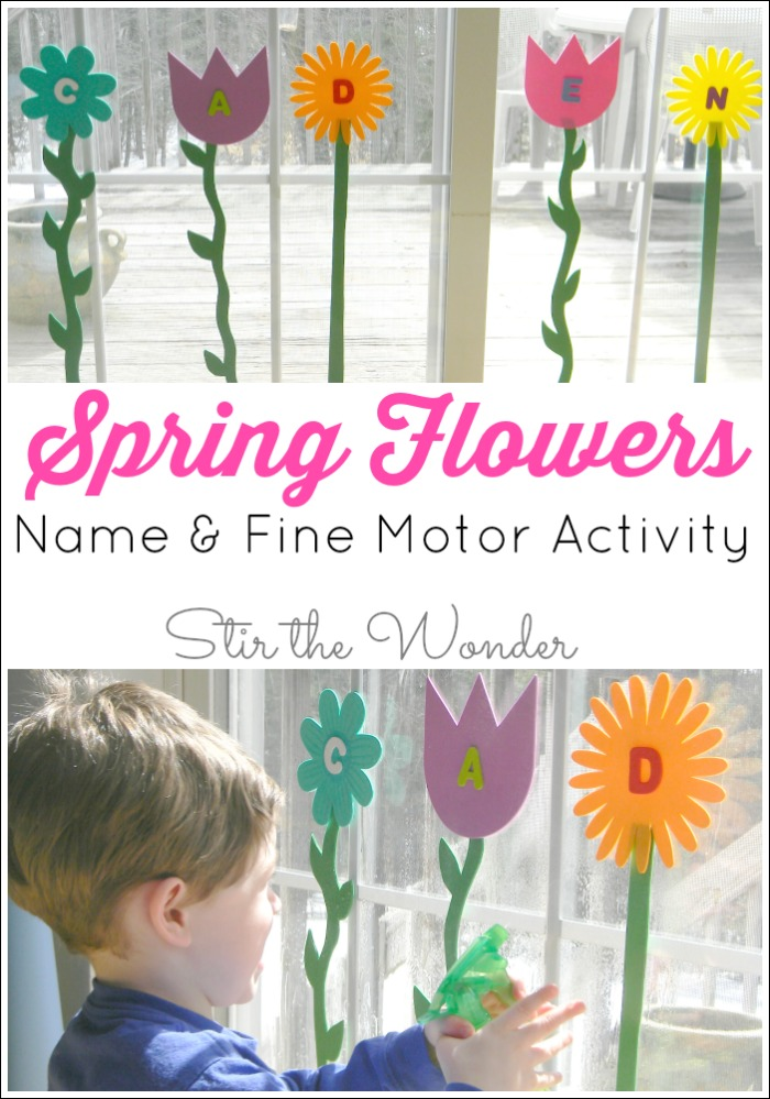 Spring Flowers Name & Fine Motor Activity is a fun way for toddlers and preschoolers to work on recognizing the letters of their name and strengthen fine motor muscles!
