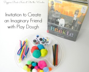 Setting up an Invitation to Create an Imaginary Friend with Play Dough is so quick and easy! Plus this activity goes really well with the 2015 Caldecott Medal winner, The Adventures of Beekle: The Unimaginary Friend!