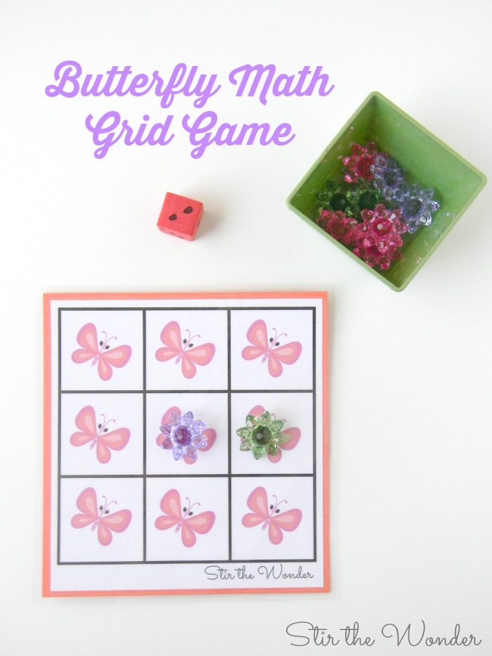 Butterfly Math Grid Game- great for preschoolers learning to count!