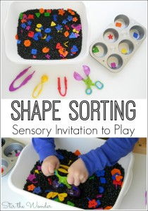Shape Sorting Sensory Invitation to Play incorporates early math skills, fine motor skills and tactile sensory input in one fun activity!