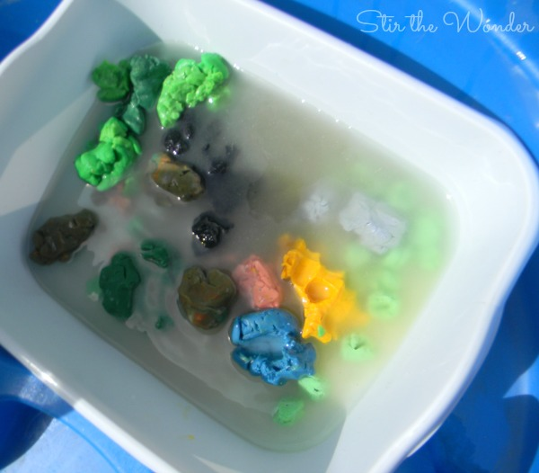 Mixing up the old play dough with water