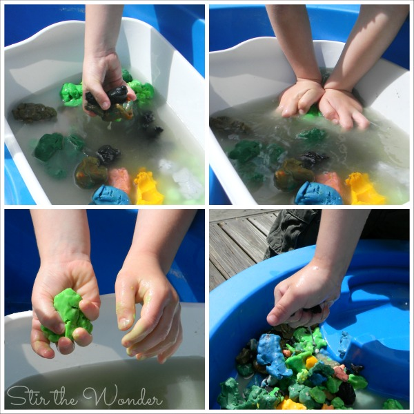 Squishing and Squeezing Play Dough Sensory Mud