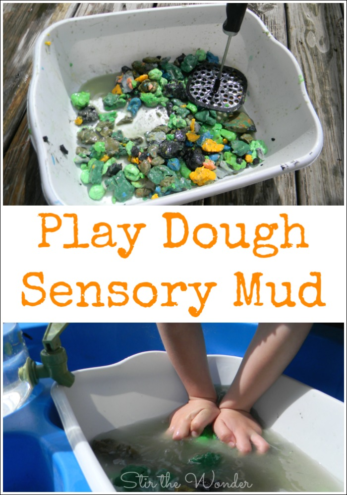 Play Dough Sensory Mud- the messy way to play with old play dough that is so much fun!