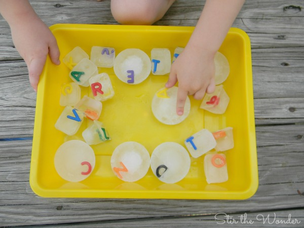 Alphabet Ice Cube Sensory Play