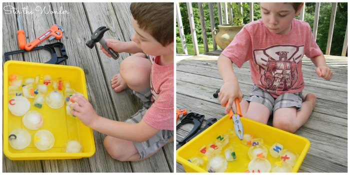 Using tools with alphabet ice cubes