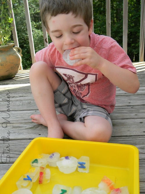 Alphabet Ice Cubes Sensory Play