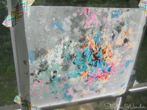Melted Crayon Shaving Process Art Sun Catcher