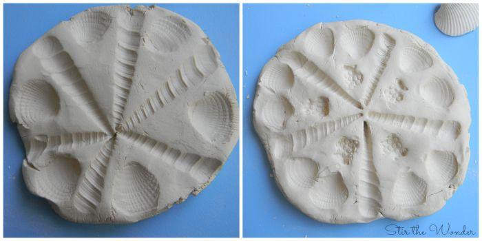 Clay mandalas with shell impressions