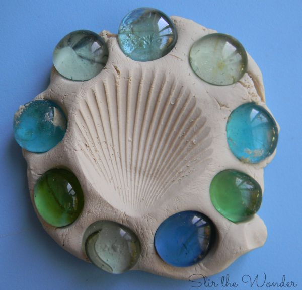 Clay, Shell print and glass gems