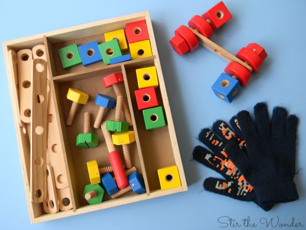 Astronaut Fine Motor Training Supplies, Melissa and Doug Construction in a Box, winter gloves