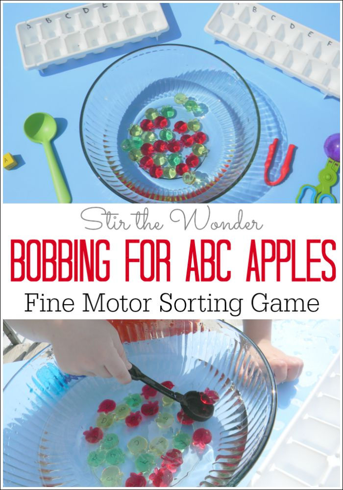 Bobbing for ABC Apples is a fun hands-on literacy game for preschoolers that includes the sensory element of water as well as practicing fine motor skills!