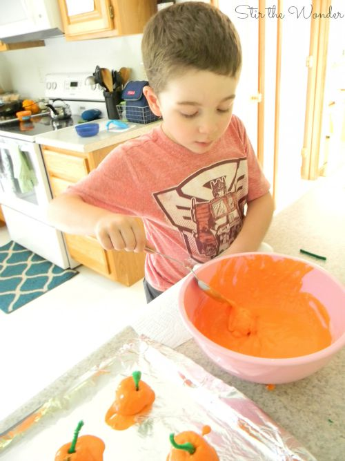 Making baked cotton ball pumpkins