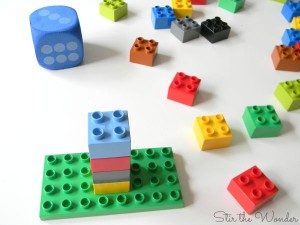 Roll a Duplo Tower Math Game