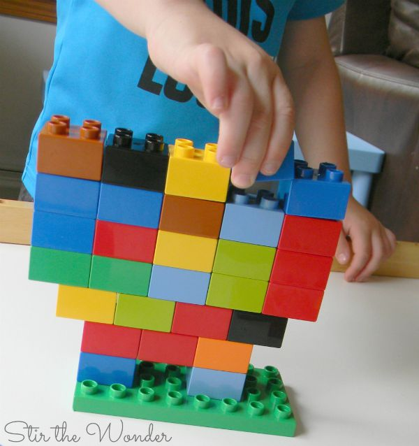 Roll a Duplo Tower Math Game 4