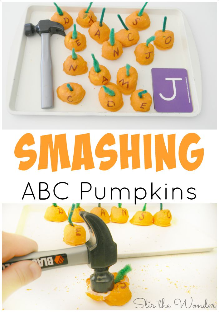 Have fun making pumpkin shaped baked cotton balls and smashing them all while practicing fine motor skills and letter recognition!