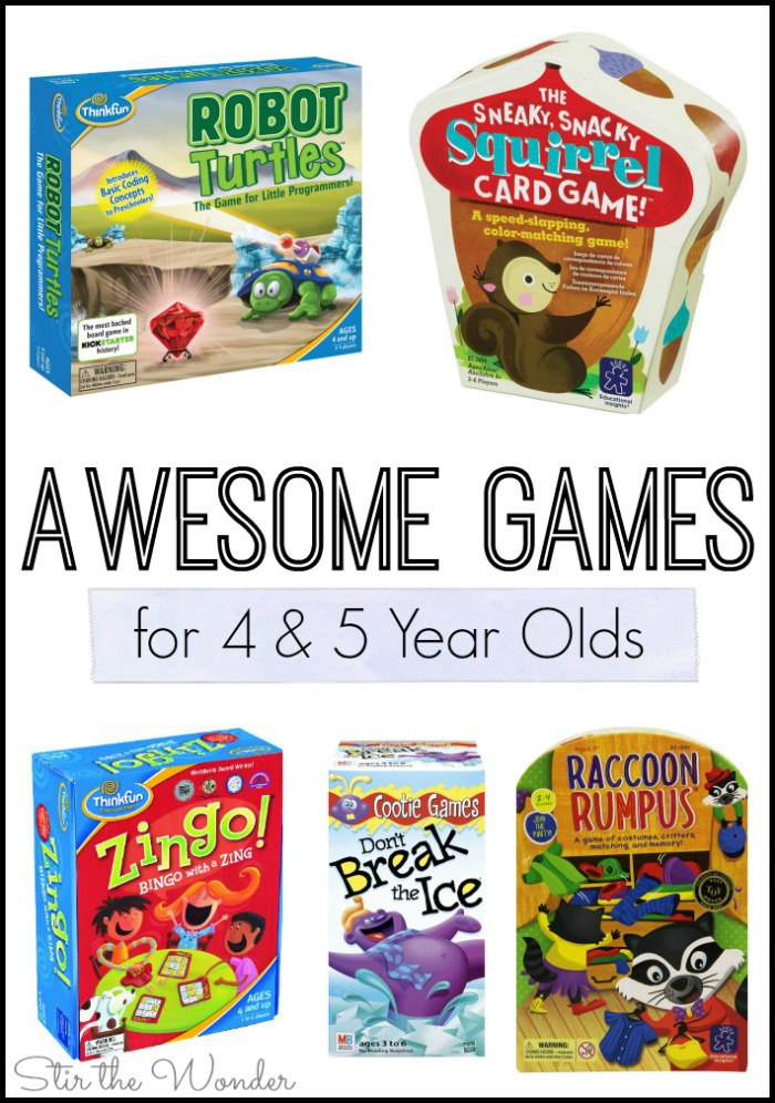 We've had a lot of fun in the past year with board games! Here are some Awesome Games for 4 & 5 Year Olds that we've enjoyed!