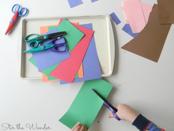 Cutting with Silly Scissors is great for fine motor practice!