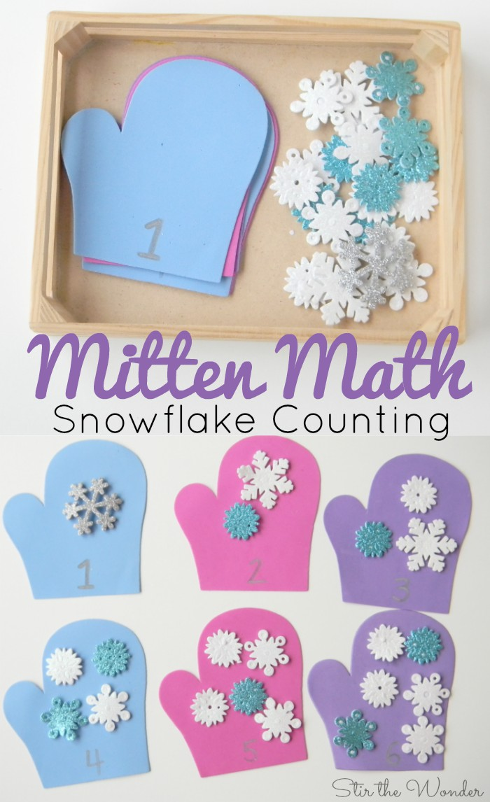 Mitten Math Counting Snowflakes Activity for Preschoolers