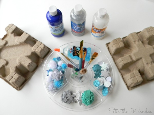 Snowflake Painting Process Art Activity Set Up