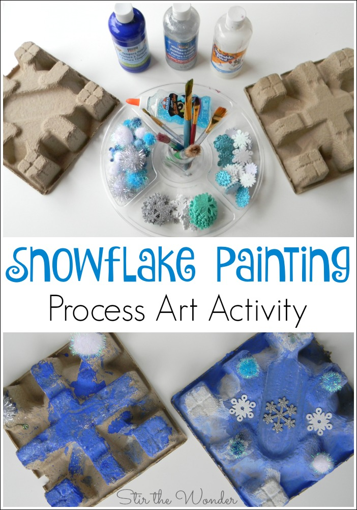 Kids will love getting creative with recycled cardboard & turning it into snowflakes with this Snowflake Painting Process Art Activity!