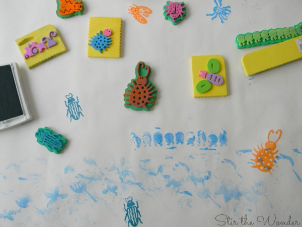 Bug Stamped Process Art for kids