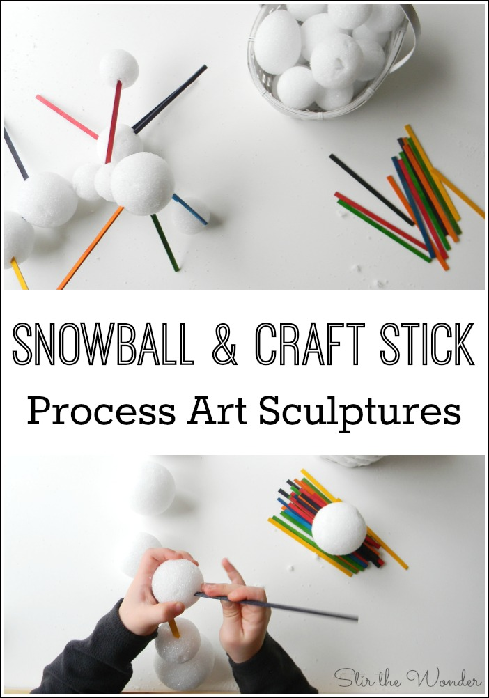 Setting out styrofoam snowballs and craft sticks is a simple invitation to play that kids will have fun creating sculptures while working on fine motor skills!