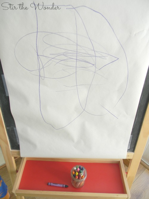 Crayon Drawing on Art Easel