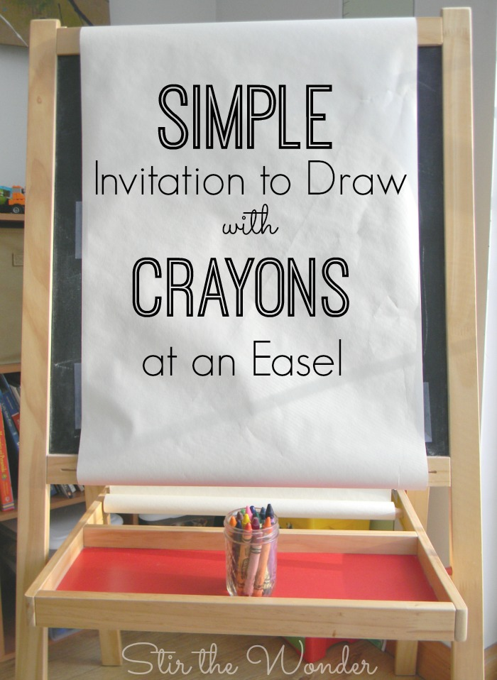 Set up a simple invitation to draw with crayons at an art easel for a fun open-ended process art activity!