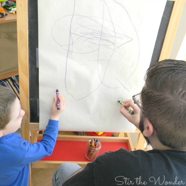 drawing on easel
