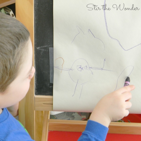 Drawing with Crayons at an easel
