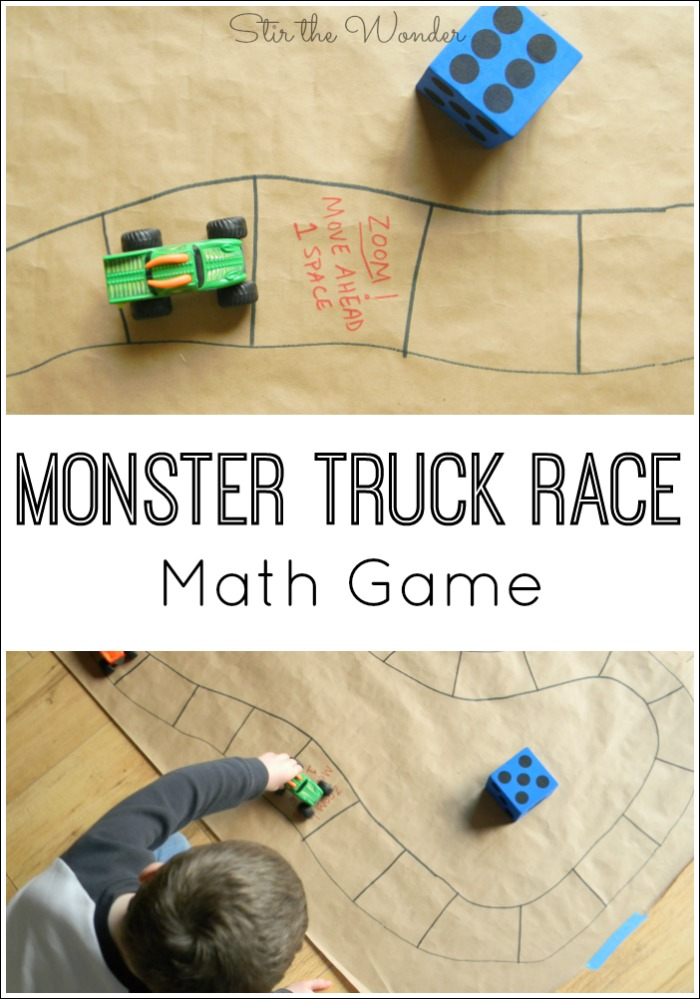 Monster Truck Race Math Game is a fun way for preschoolers to practice counting and older kids to learn math operations.