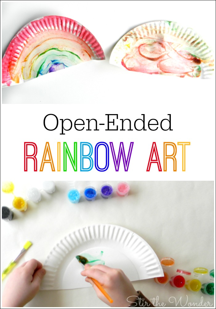 This open-ended rainbow art activity is a great way for toddlers and preschoolers to learn about colors! It is also a simple art project for spring or St. Patrick's Day!
