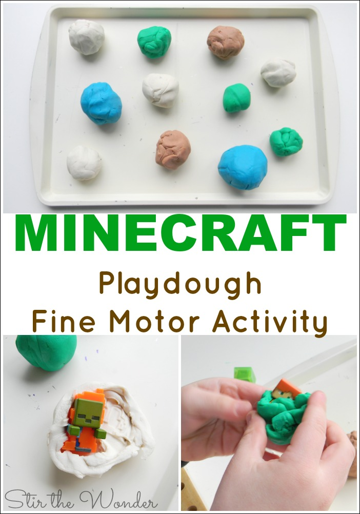 Minecraft Playdough Fine Motor Activity is the easiest activity for kids to practice fine motor skills!