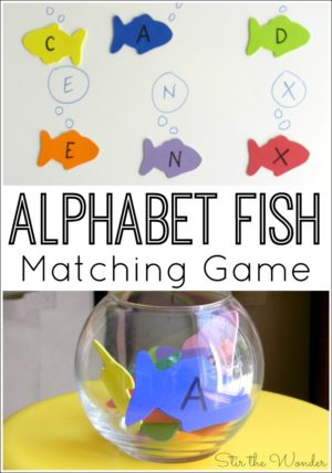 The Alphabet Fish Matching Game is a fun way for preschoolers to work on letter recognition as well as fine motor strengthening!
