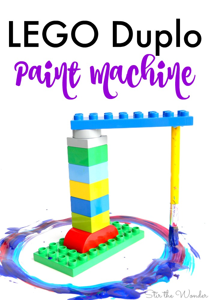 Building and painting with a LEGO Duplo Paint Machine is a wonderful way for kids to experiment with science, technology, engineering, art and math (S.T.E.A.M.). This process art activity is perfect for getting builders interested in creating art!
