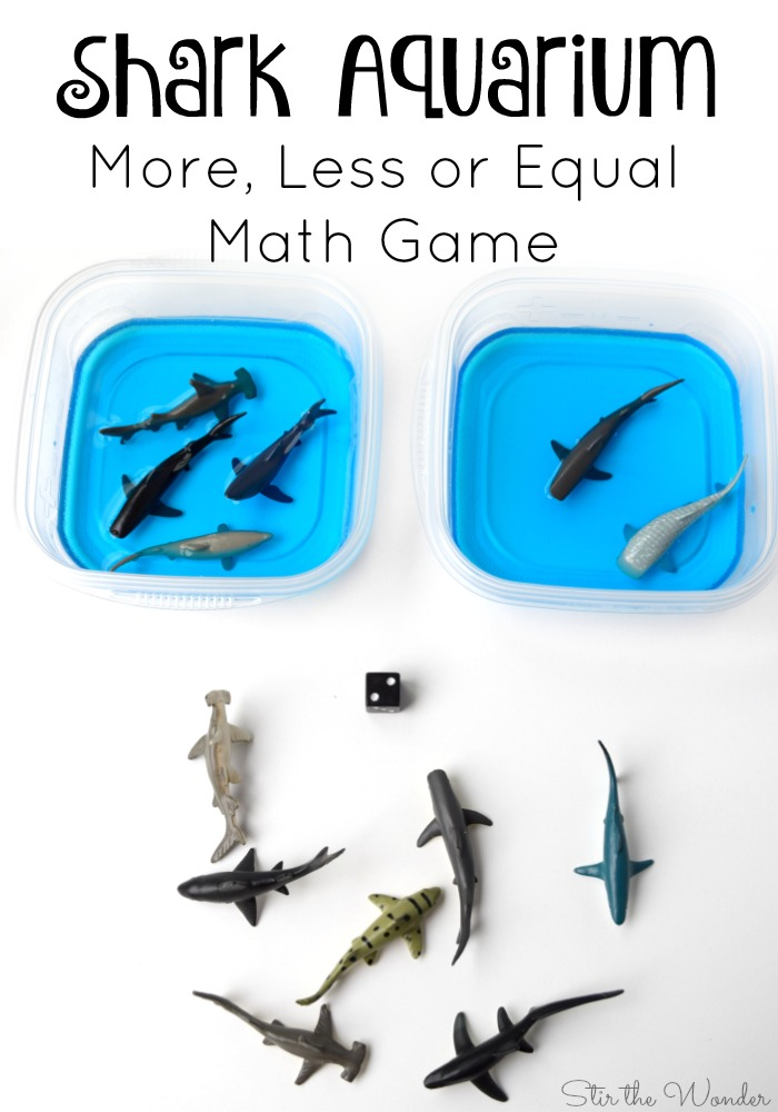 Shark Aquarium Math Game is a fun game for summer time learning with preschoolers!