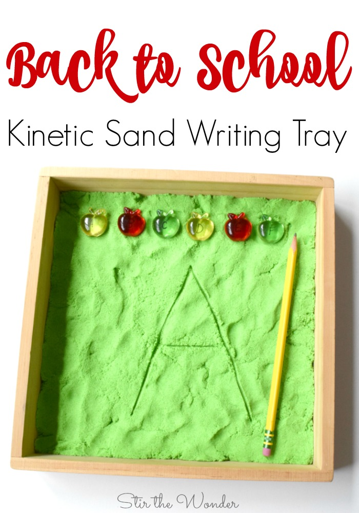 The Back to School Kinetic Sand Writing Tray is a fun way for young children to practice handwriting with great proprioceptive input!